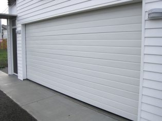 Ribline garage door in Colorbond Surfmist